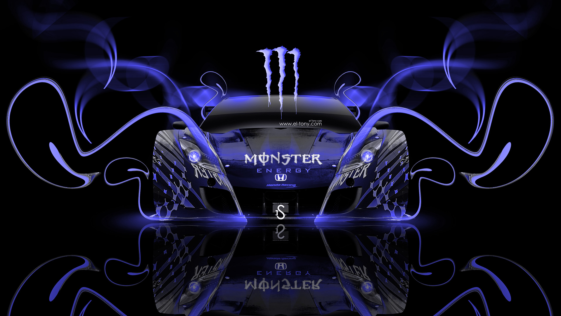 ... Monster Energy Honda HSV Blue Neon Plastic Car  ...