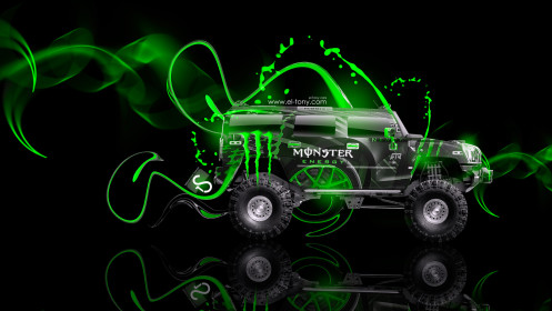 Monster-Energy-Hummer-H2-Fantasy-Green-Plastic-Car-2014-design-by-Tony-Kokhan-[www.el-tony.com]
