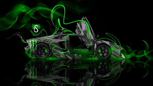 Monster-Energy-Lamborghini-Aventador-Open-Doors-Green-Plastic-Car-2014-design-by-Tony-Kokhan-[www.el-tony.com]