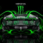 Monster Energy Lamborghini Huracan Back Plastic Car 2014