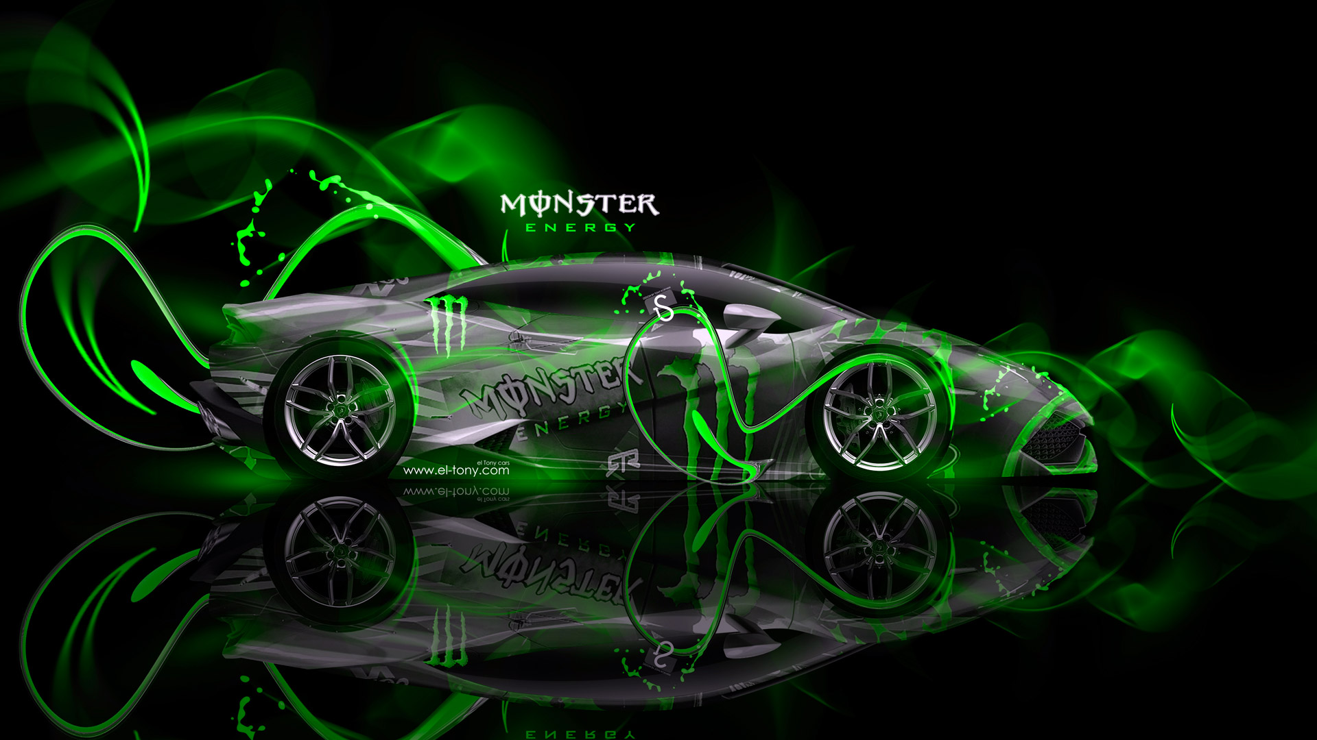Monster Energy Lamborghini Huracan Green Neon Car 2014