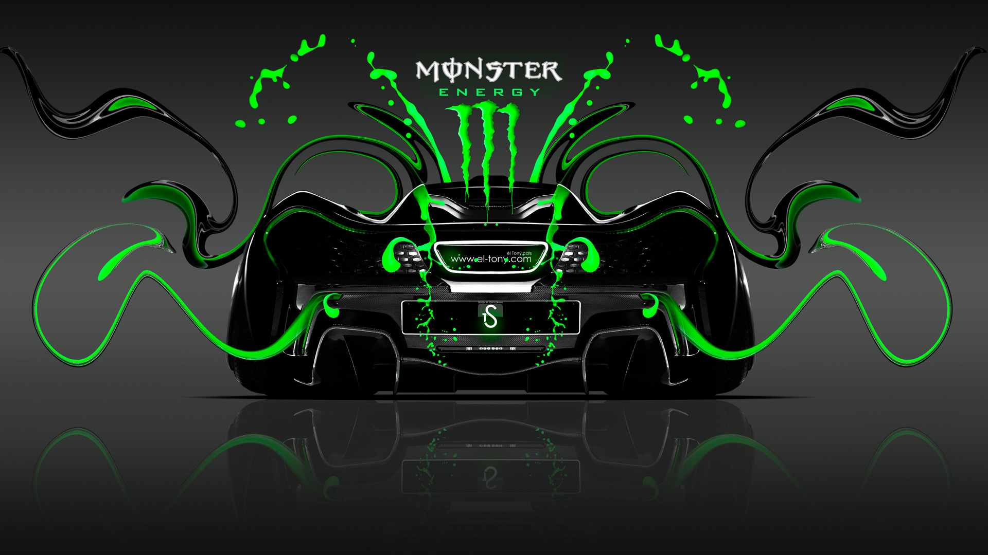Charmant Monster Energy McLaren P1 Back Green Neon Plastic