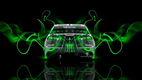 Monster-Energy-Mitsubishi-Lancer-Evolution-X-Back-Green-Plastic-Car-2014-design-by-Tony-Kokhan-[www.el-tony.com]