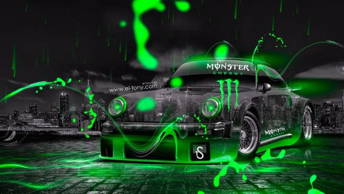 Monster-Energy-Porsche-911-Turbo-1976-Green-Neon-Car-2014-by-Tony-Kokhan-[www.el-tony.com]