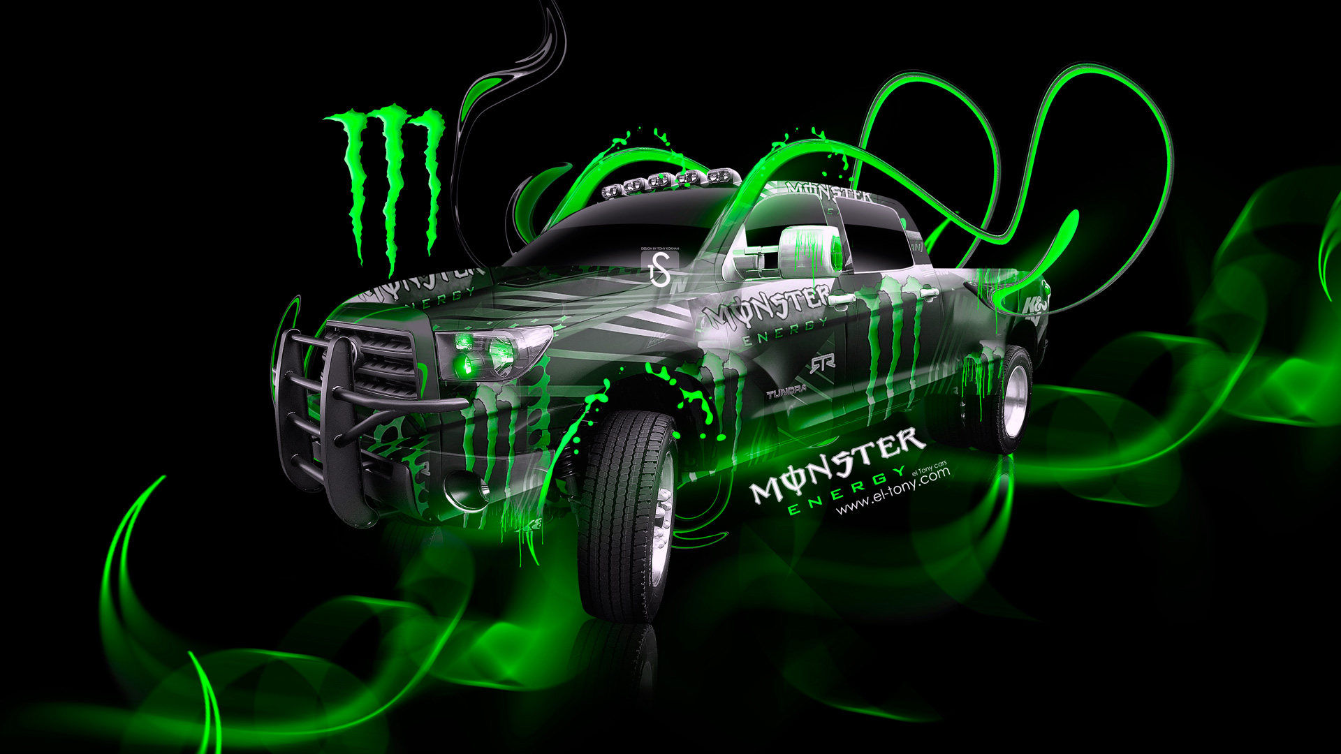 Monster Energy Toyota Tundra Jeep Green Plastic Car