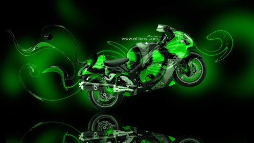 Moto-Suzuki-Hayabusa-Super-Abstract-Green-Plastic-Bike-2014-design-by-Tony-Kokhan-[www.el-tony.com]
