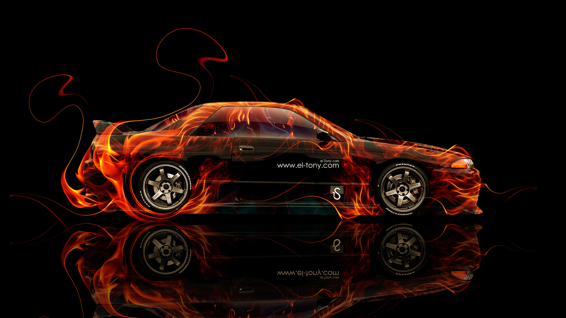 Nissan Skyline GTR R32 JDM Side Fire Abstract