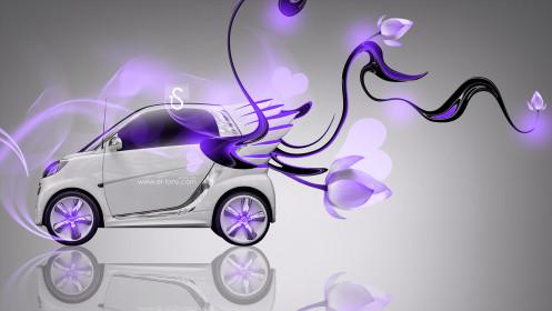 Smart-Fantasy-Flowers-Heart-Plastic-Car-2014-Violet-Neon-design-by-Tony-Kokhan-[www.el-tony.com]