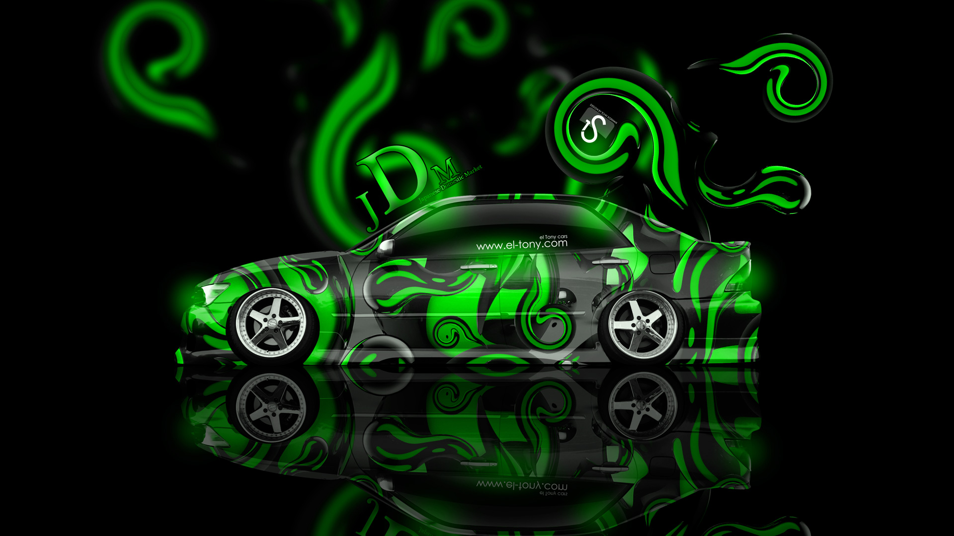 Toyota Altezza JDM Effects Green Abstract Car 2014