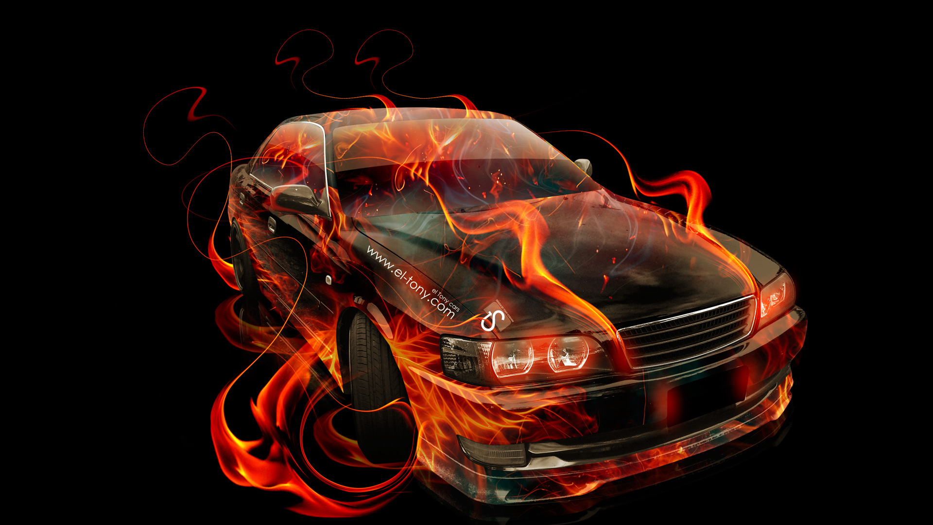 Toyota Chaser JZX100 JDM Fire Up Abstract Car