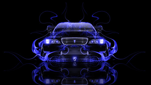 Toyota-Cresta-JZX100-JDM-Tuning-Front-Blue-Fire-Car-2014-design-by-Tony-Kokhan-[www.el-tony.com]