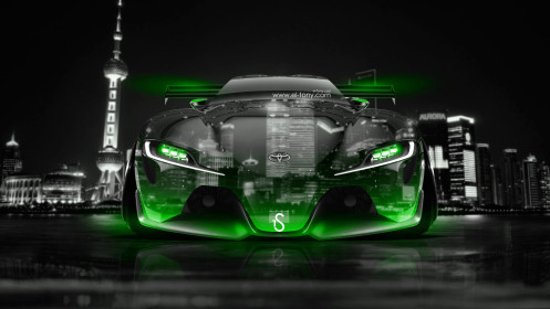 Toyota-FT-1-Tuning-Front-Crystal-City-Car-2014-Green-Neon-design-by-Tony-Kokhan-[www.el-tony.com]