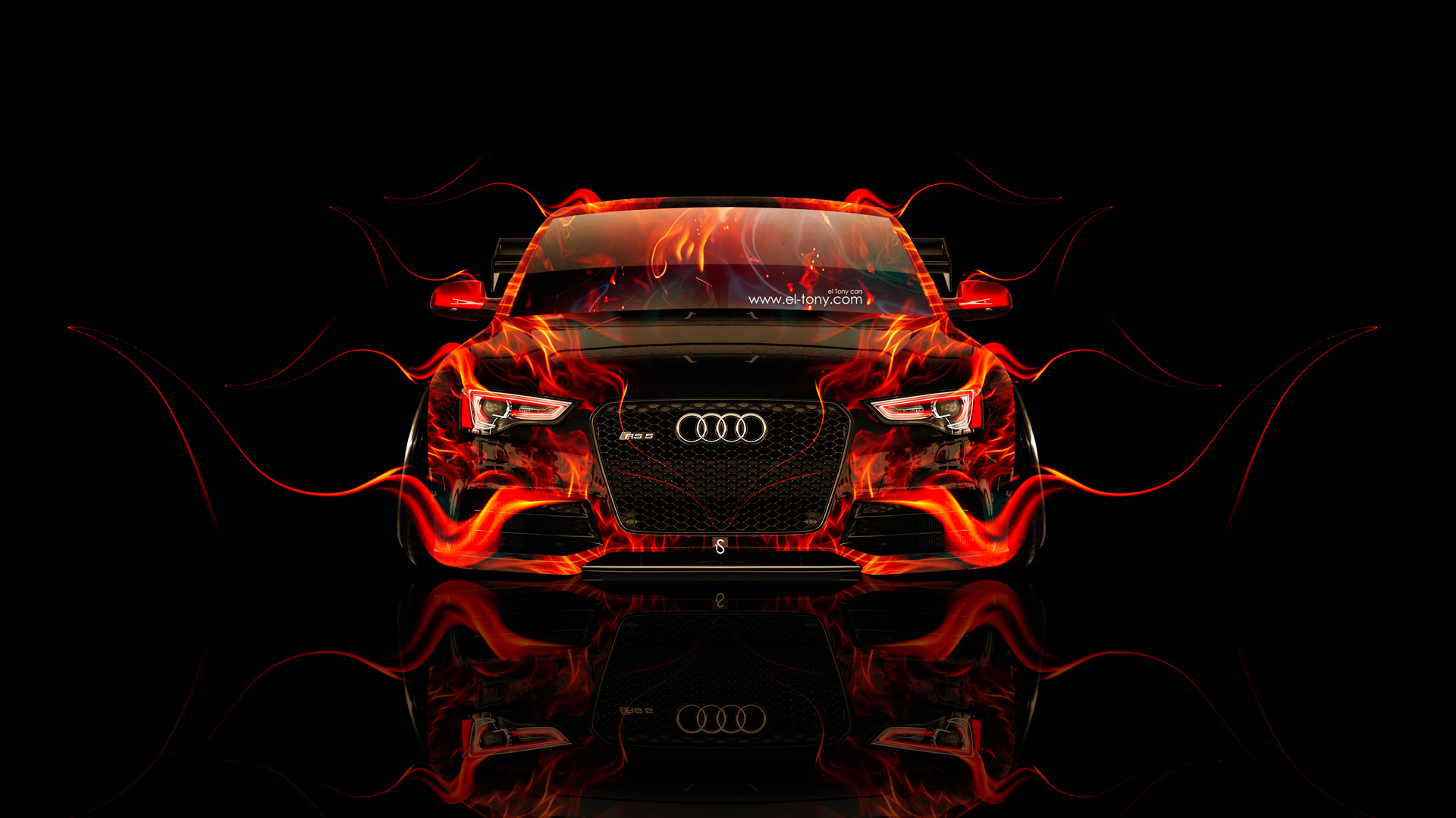 Audi Rs5 Tuning Front Fire Car 2014 El Tony