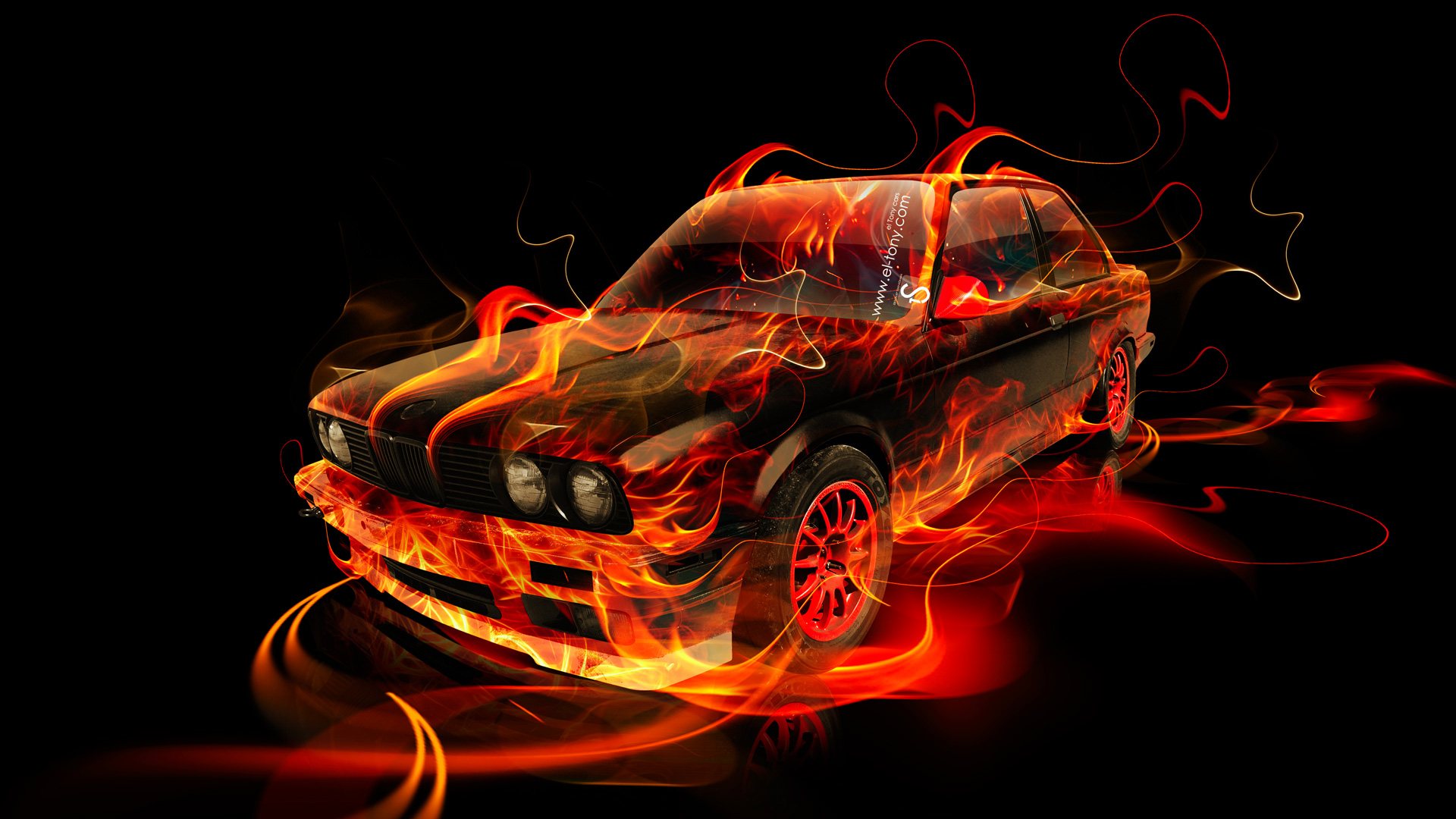 Delightful ... BMW E30 Fire Abstract Car 2014
