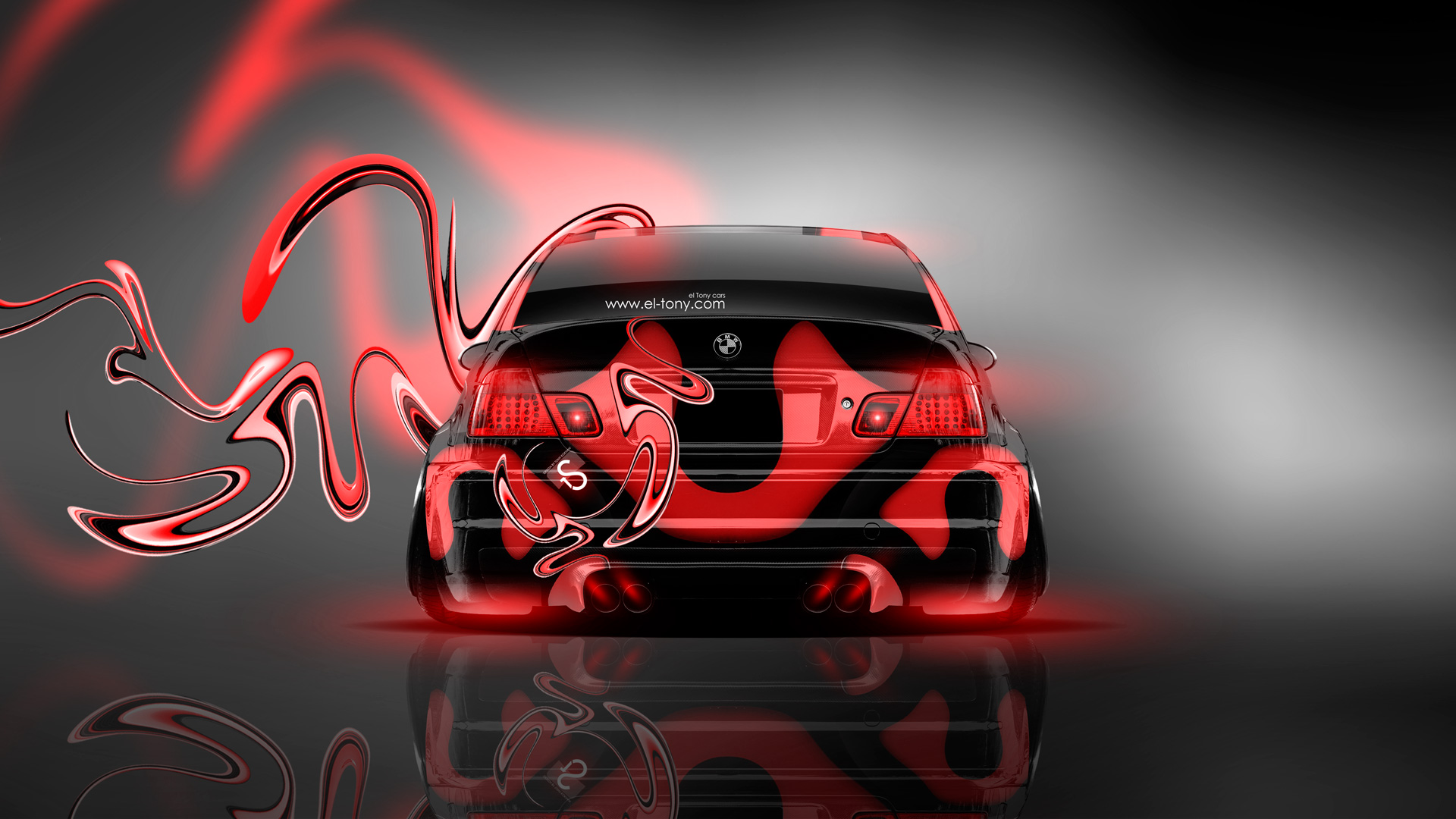 Bmw M3 Back Plastic Neon Car 2014 El Tony