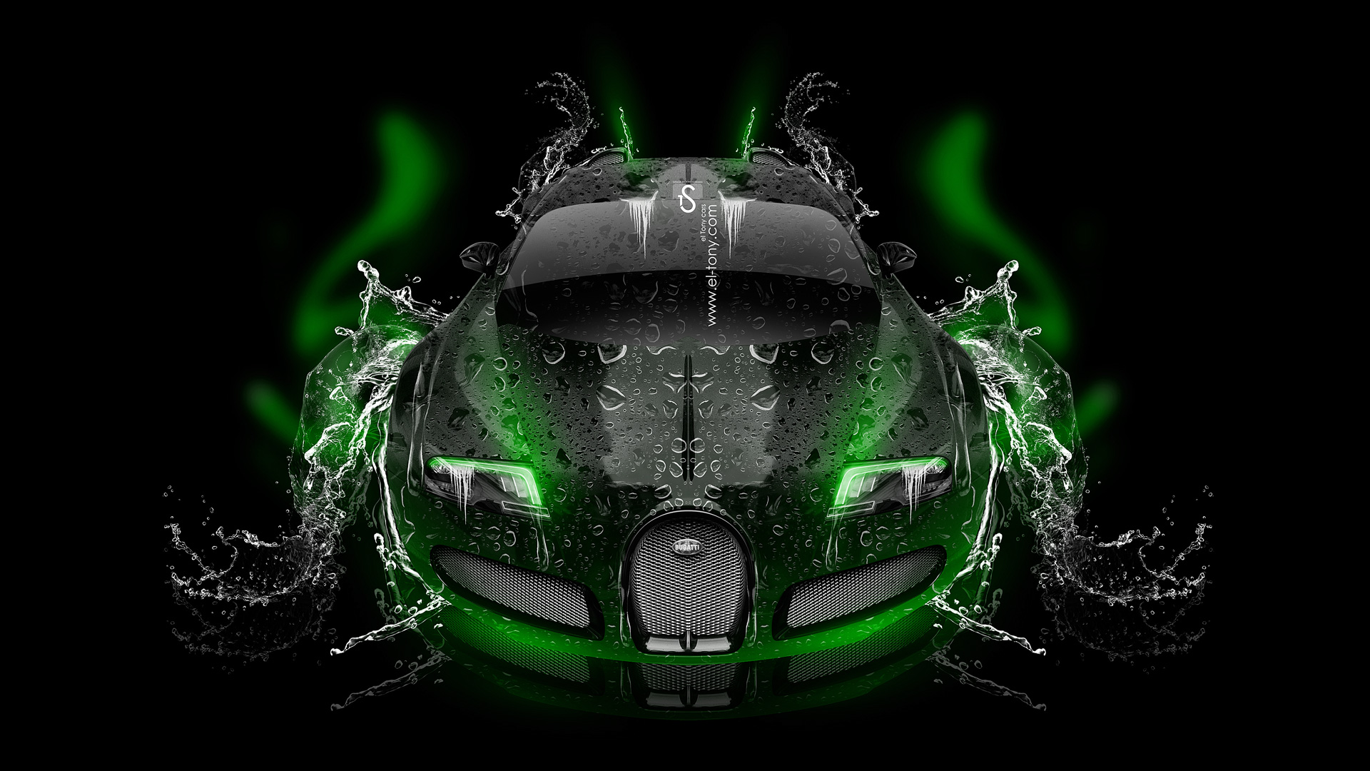 ... Bugatti Veyron Up Water Car 2014 Green Neon  ...