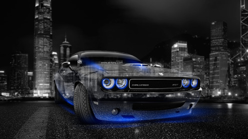 Dodge-Challenger-Muscle-Crystal-City-Car-2014-Blue-Neon-HD-Wallpapers-design-by-Tony-Kokhan-[www.el-tony.com]