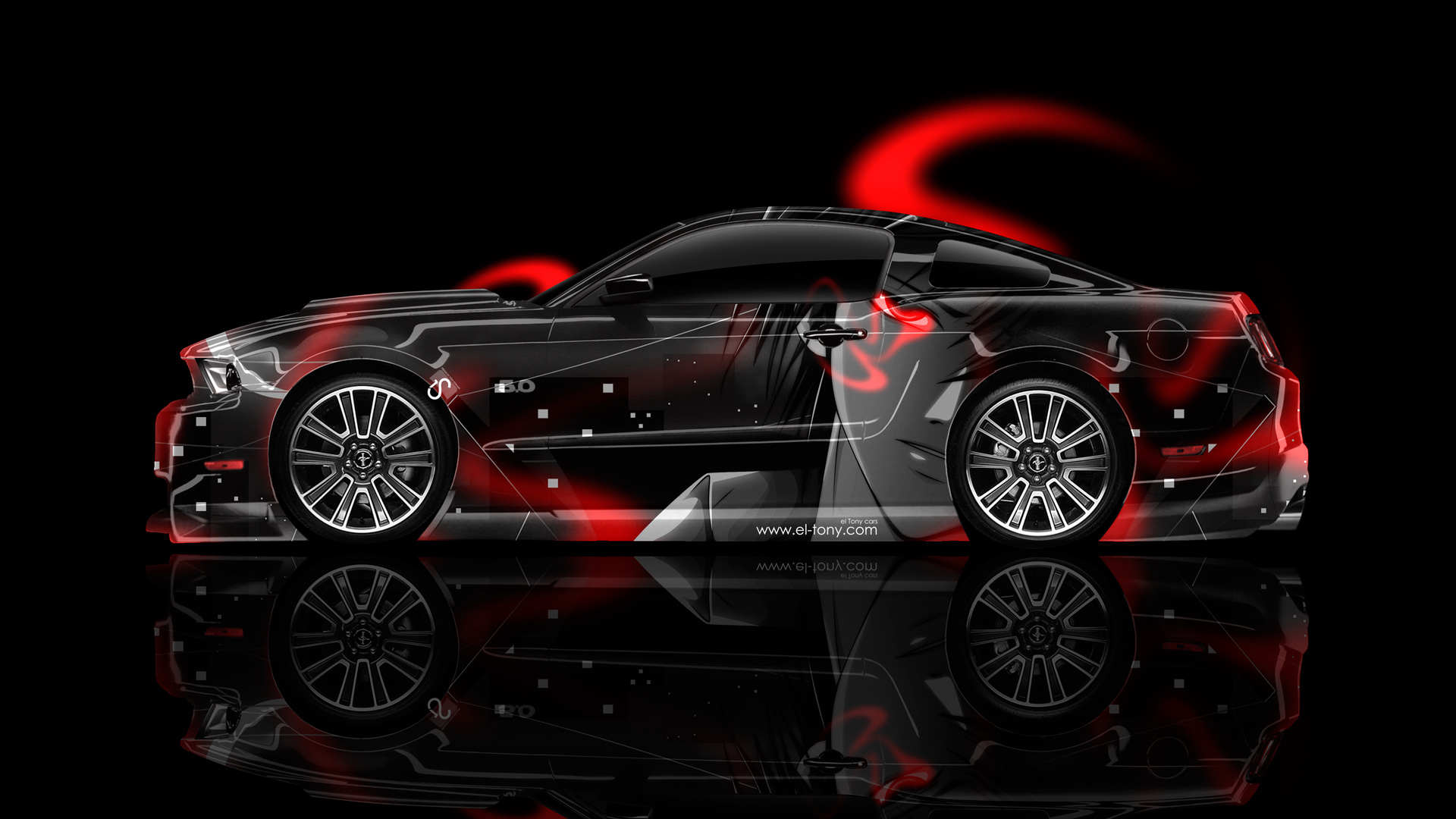 Ford Mustang Gt Side Anime Aerography Car 2014 El Tony