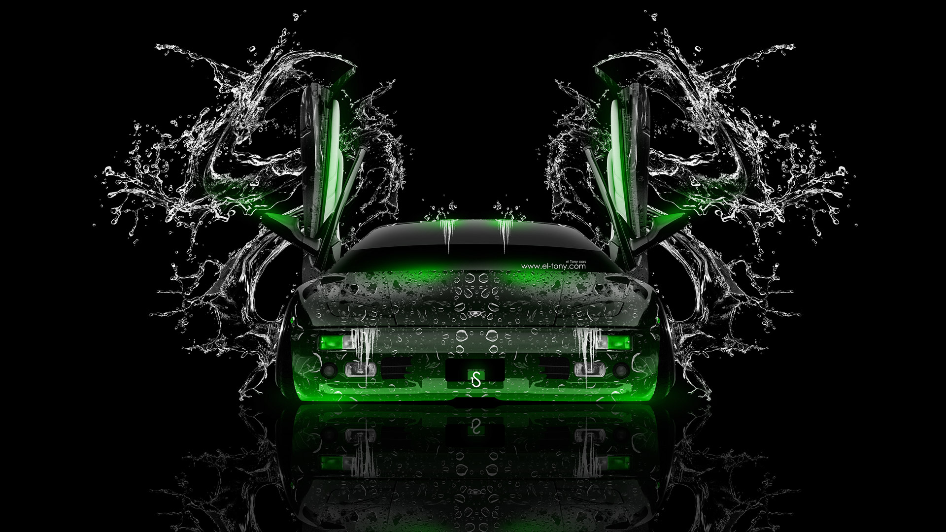 Lamborghini Diablo Open Doors Front Water Car Green Neon Design By Tony Kokhan   El Tony on mclaren p1 blue fire