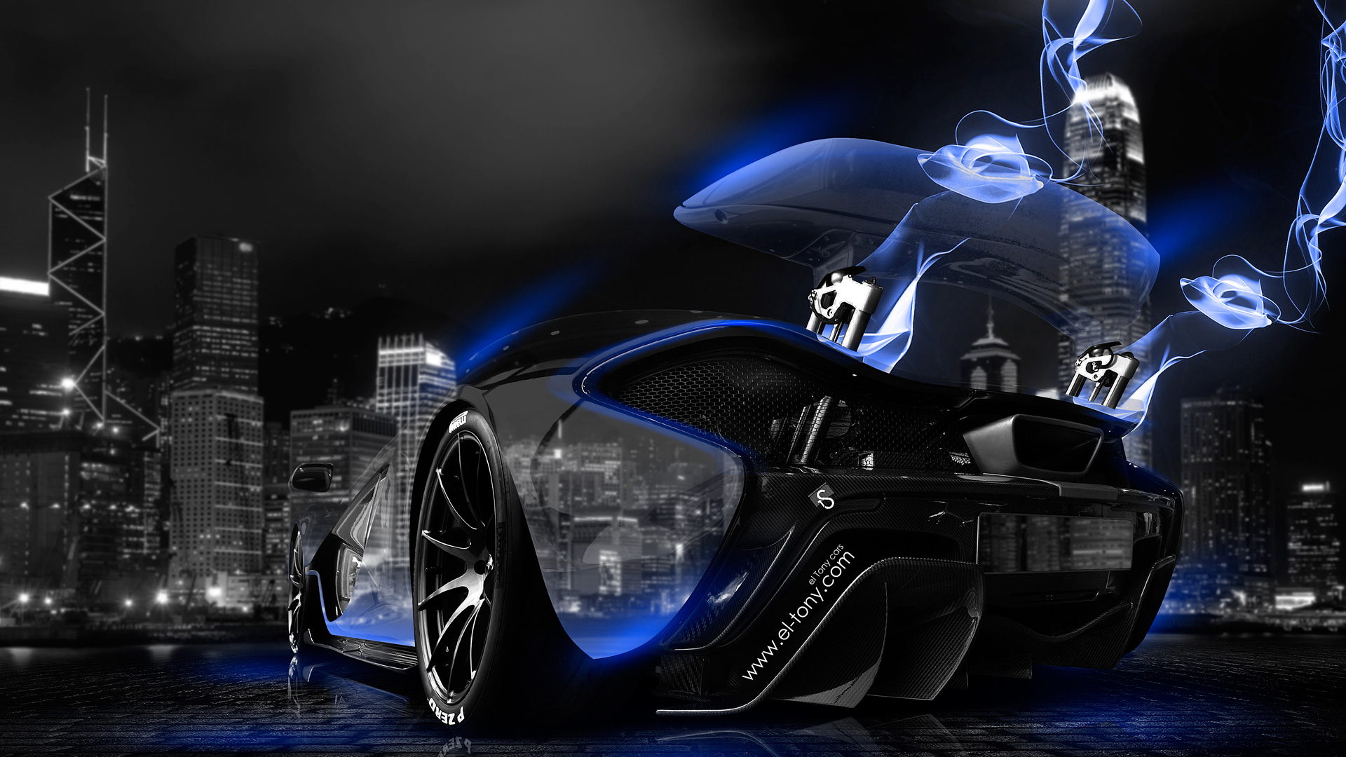 Gentil McLaren P1 Blue Neon Energy Crystal City Car