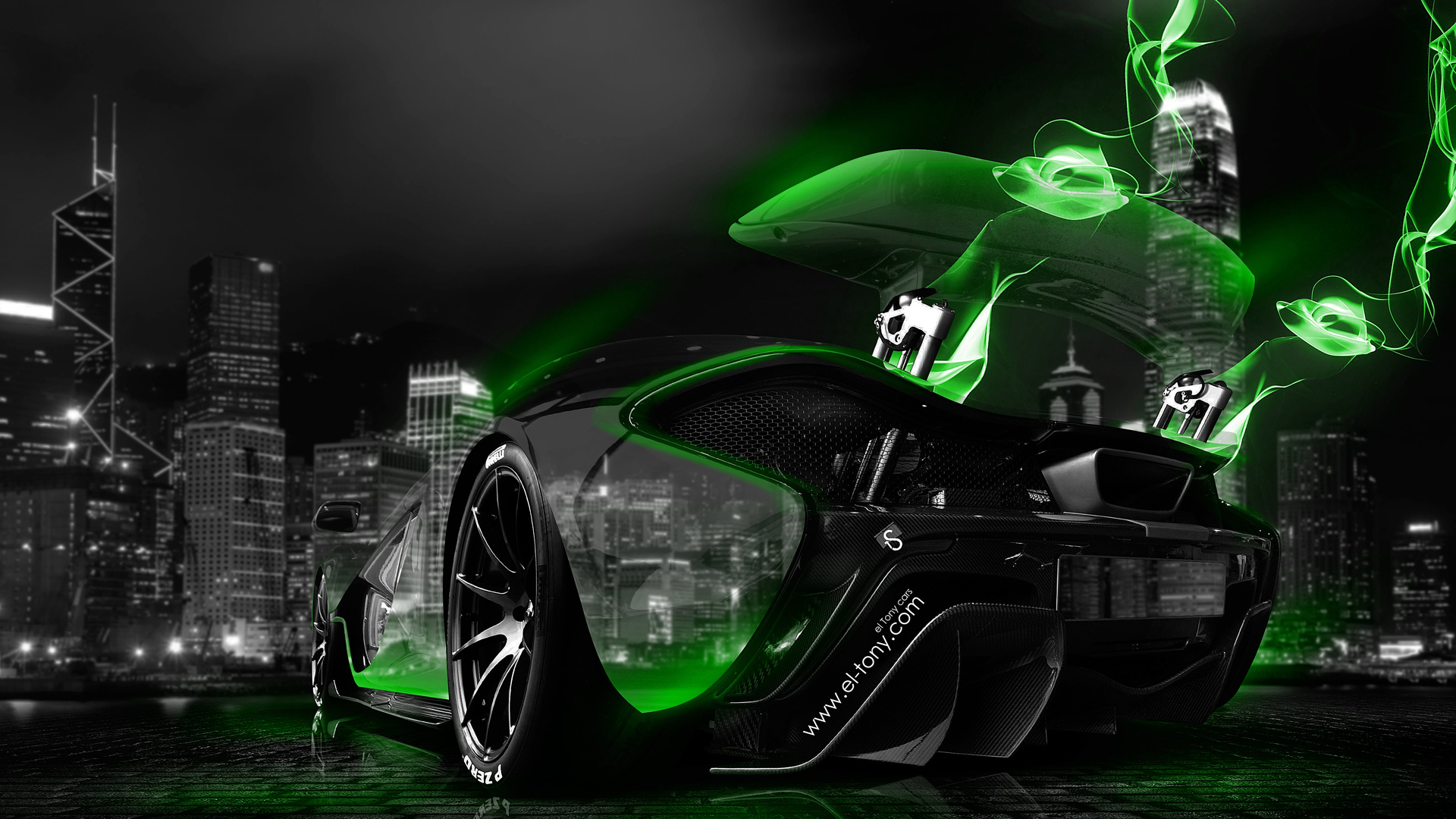 Mclaren P1 Neon Energy Crystal City Car 2014 El Tony
