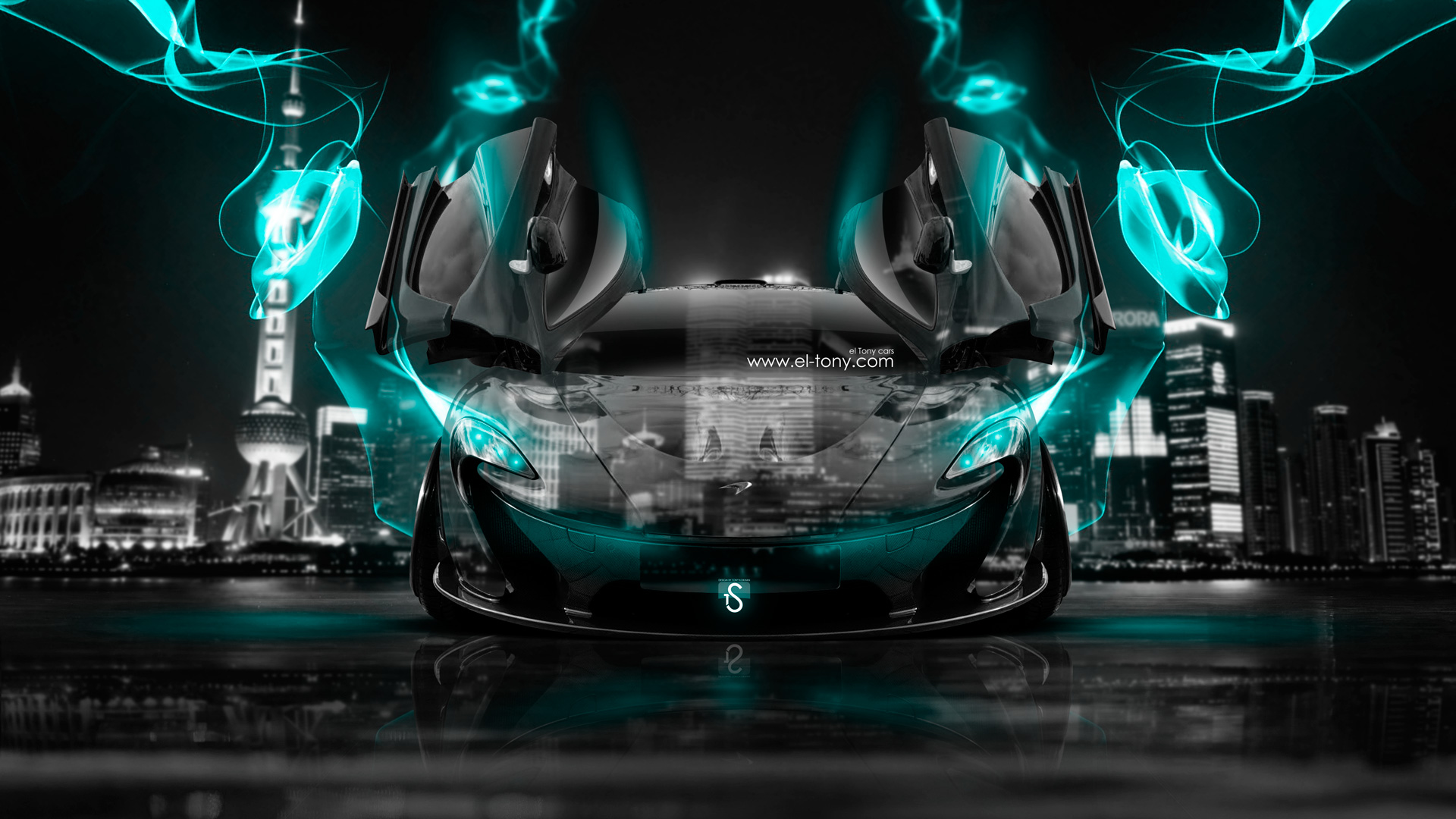 McLaren P1 Open Doors Front Crystal City Azure  ...