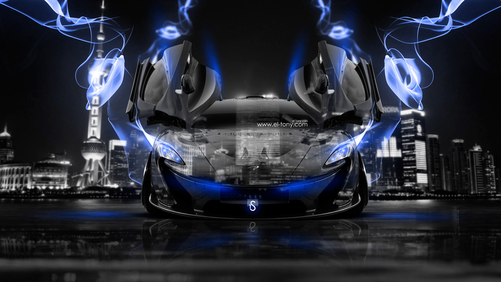 Charmant McLaren P1 Open Doors Front Crystal City Blue