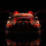 Mitsubishi Lancer Evolution X Tuning Fire Car 2014