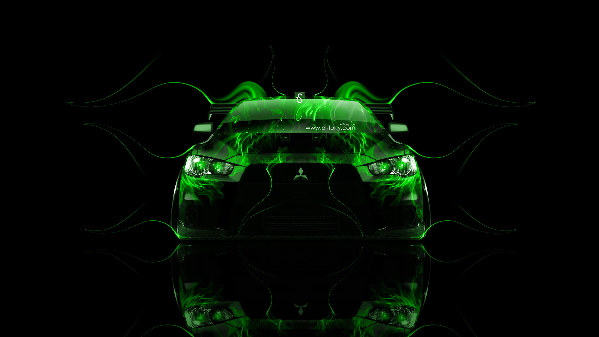 ... Mitsubishi Lancer Evolution X Tuning Front Green Fire  ... Gallery