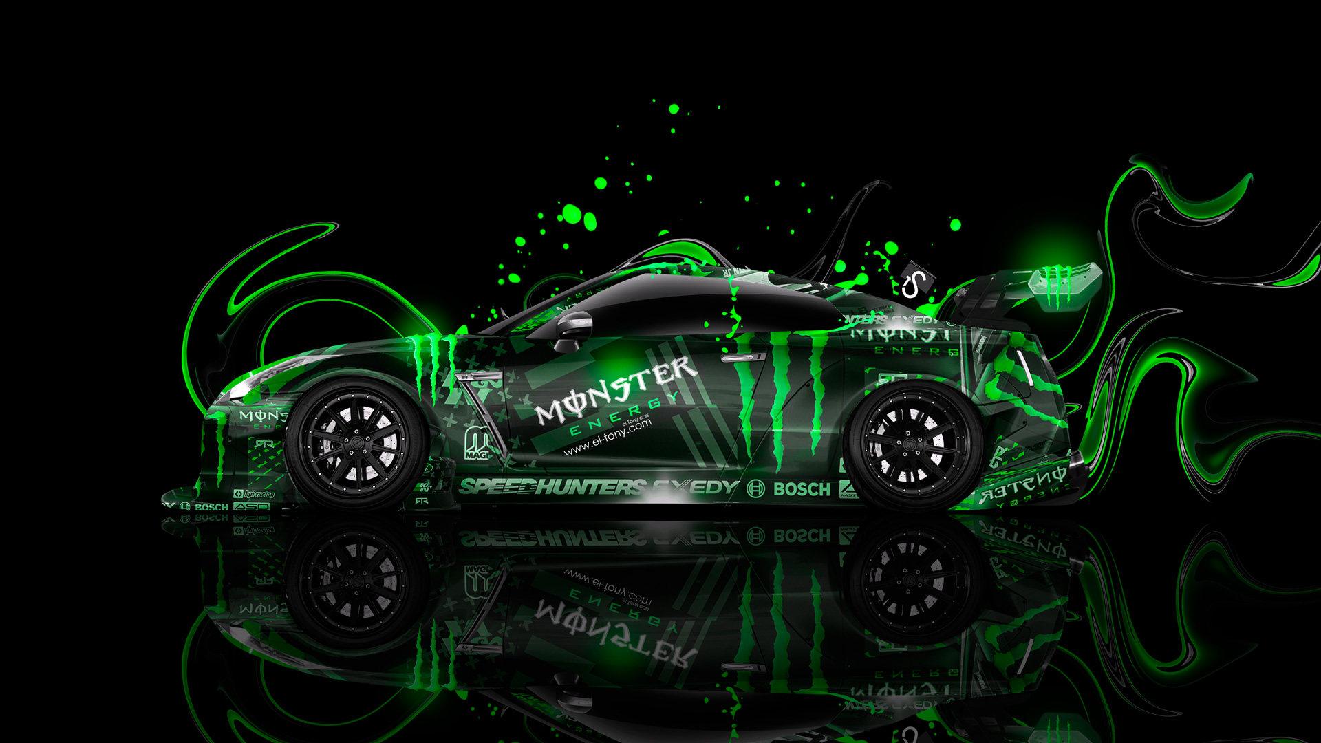 Monster Energy Nissan GTR R35 Tuning Side Plastic