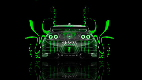 Monster-Energy-Nissan-Skyline-GTR-R33-Back-Plastic-Car-2014-Green-Neon-design-by-Tony-Kokhan-[www.el-tony.com]