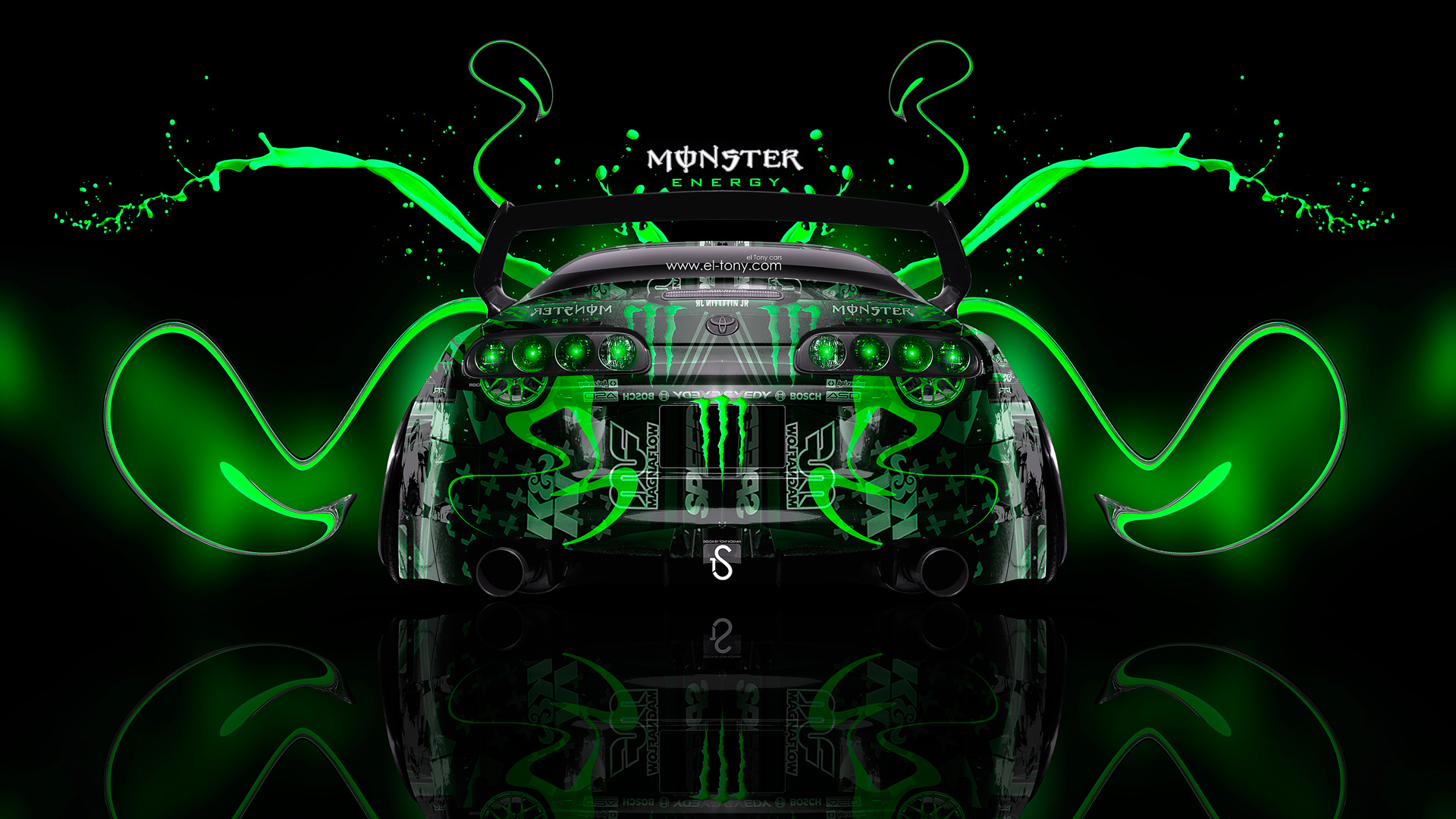 Monster Energy Toyota Supra JDM Back Plastic Car