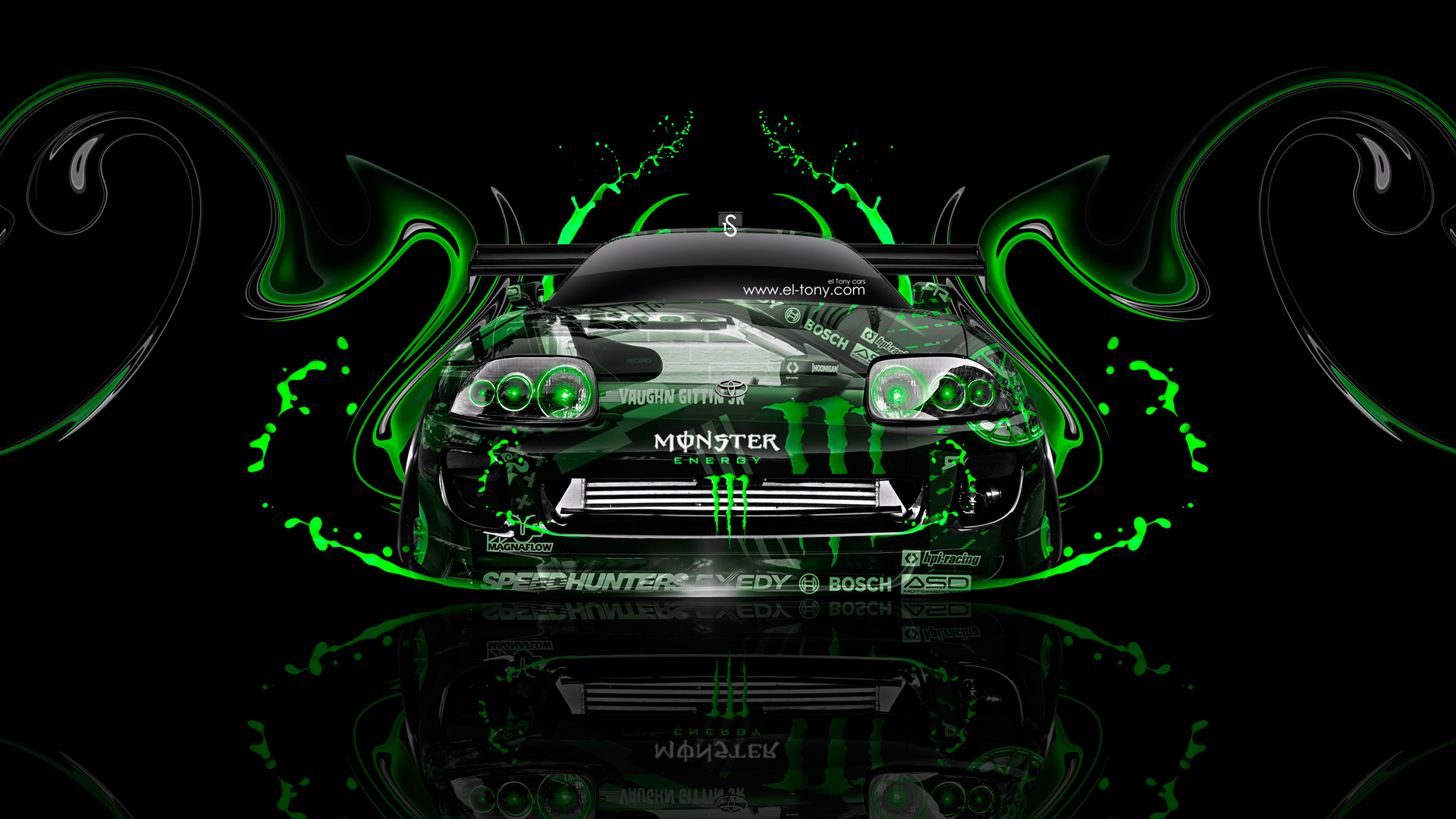 Lovely Monster Energy Toyota Supra JDM Front Plastic Car