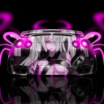 Nissan GTR R35 Back Anime Girl Aerography Car 2014
