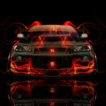 Nissan Skyline GTR R34 Front Fire Abstract Car 2014