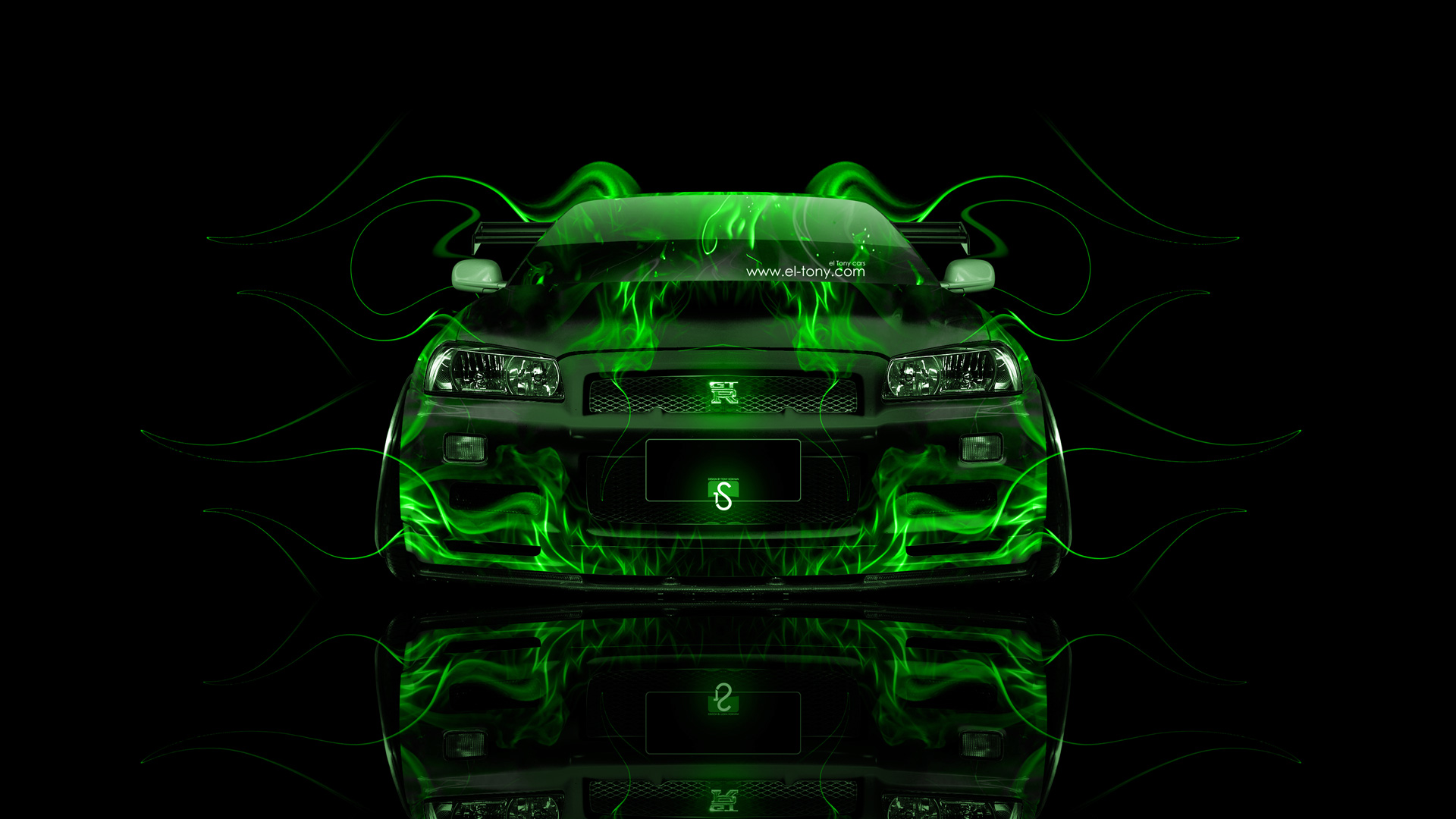 Ordinaire ... Nissan Skyline GTR R34 JDM Front Green Fire  ...