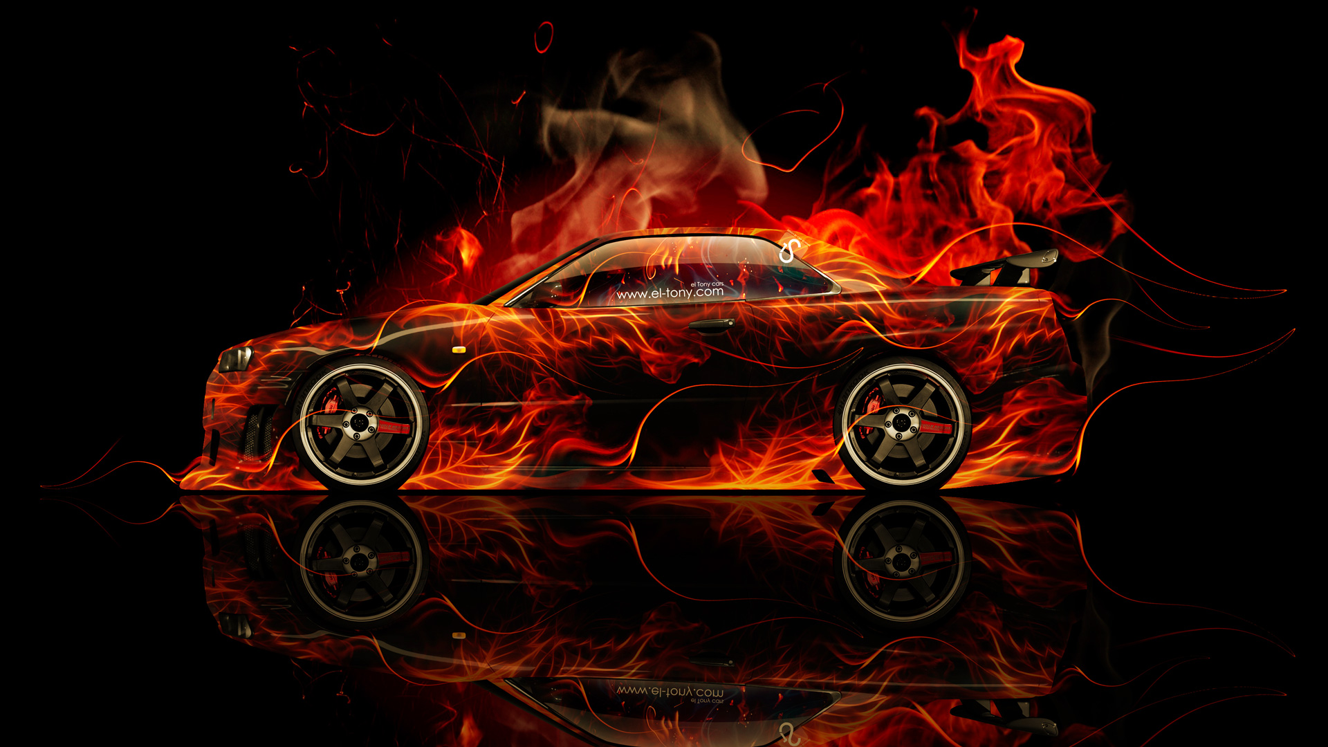 Nissan Skyline GTR R34 JDM Side Fire Abstract