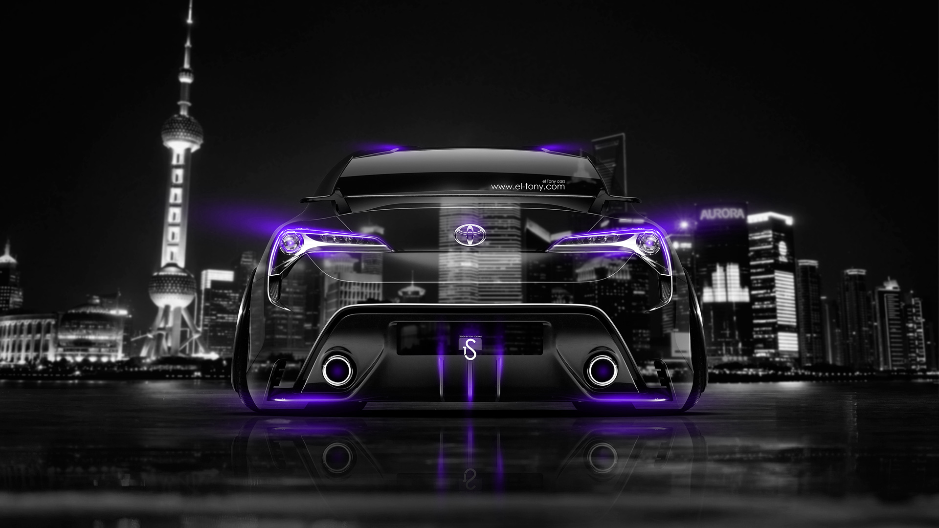 Toyota-FT-86-Back-Crystal-City-Car-2014-Violet-Neon-HD-Wallpapers-design-by-Tony-Kokhan-[www.el-tony.com]