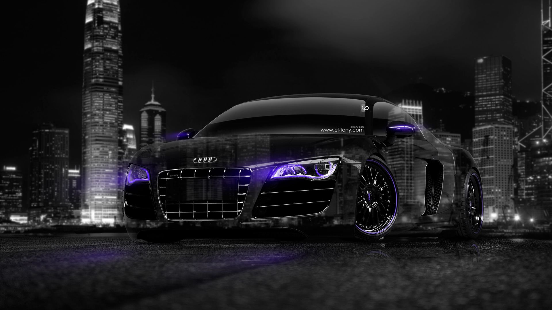 Audi R8 Crystal City Car 2014 Violet Neon
