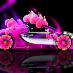 Bugatti Veyron Roadster Fantasy Flowers Neon Car 2014