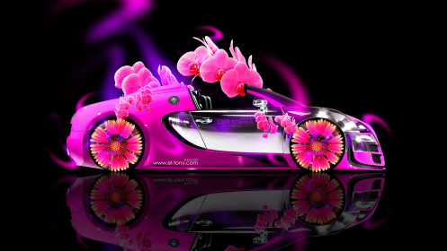 Bugatti-Veyron-Roadster-Side-Fantasy-Flowers-Neon-Car-2014-HD-Wallpapers-design-by-Tony-Kokhan-[www.el-tony.com]