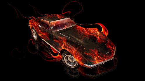 Chevrolet-Corvette-Stingray-Retro-Muscle-Fire-Car-2014-Photoshop-HD-Wallpapers-design-by-Tony-Kokhan-[www.el-tony.com]