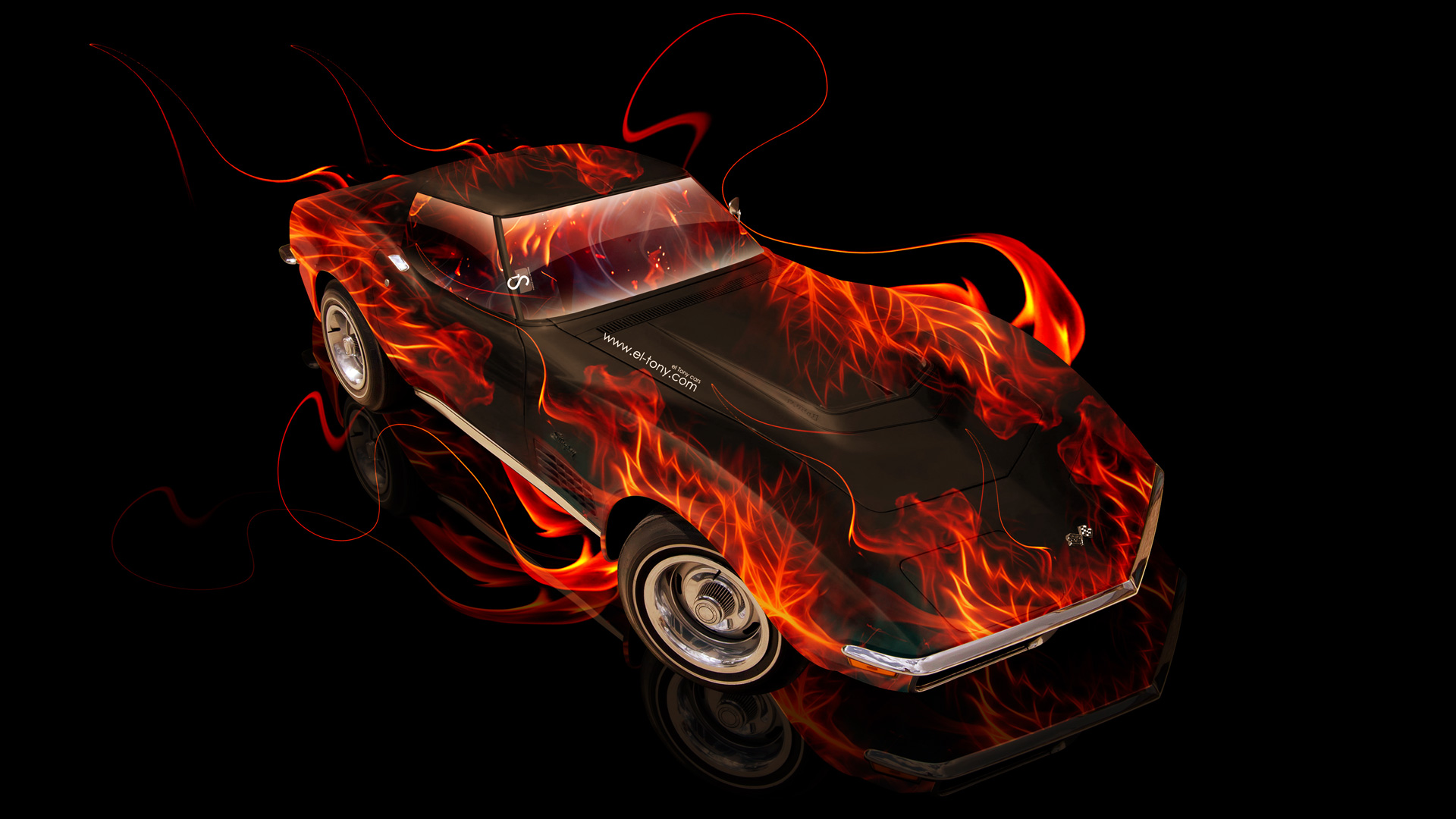 Perfect Chevrolet Corvette Stingray Retro Muscle Fire Car 2014