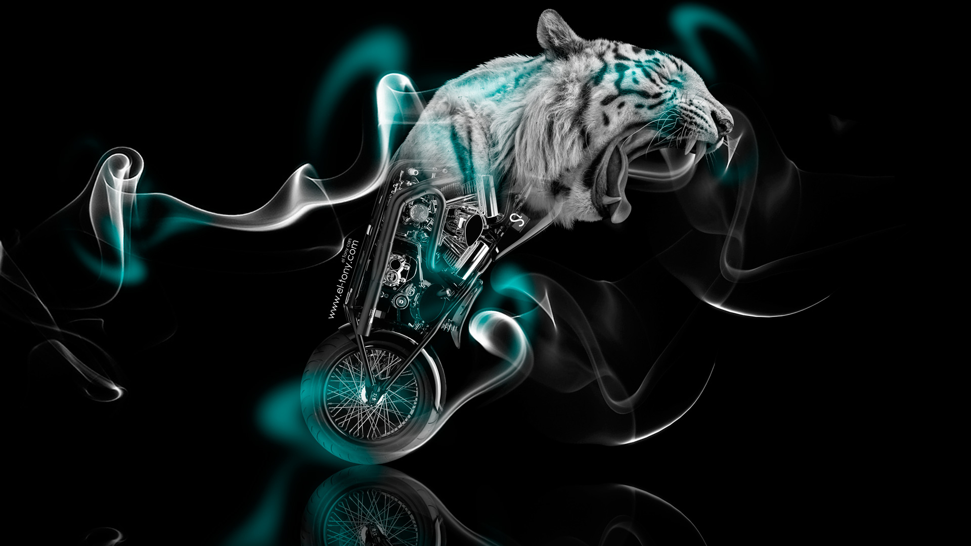 Attractive ... Fantasy Moto Tiger Smoke Bike 2014 Azure Neon