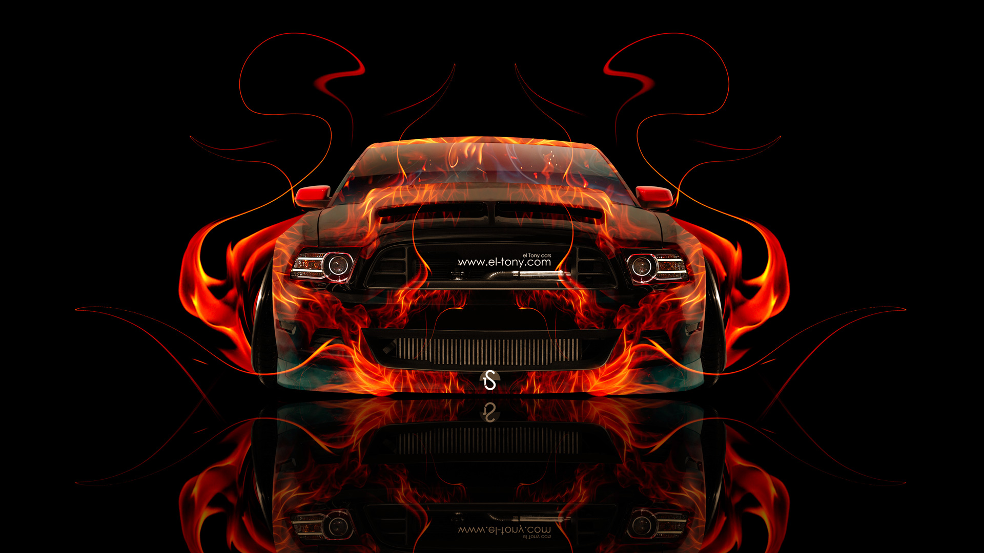 Elegant Ford Mustang GT Muscle Front Fire Abstract Car
