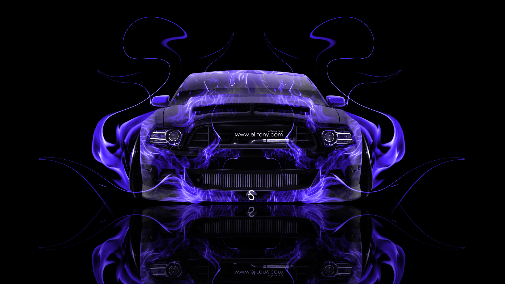 ford mustang gt muscle front violet fire abstract - Mustang 2014 Purple