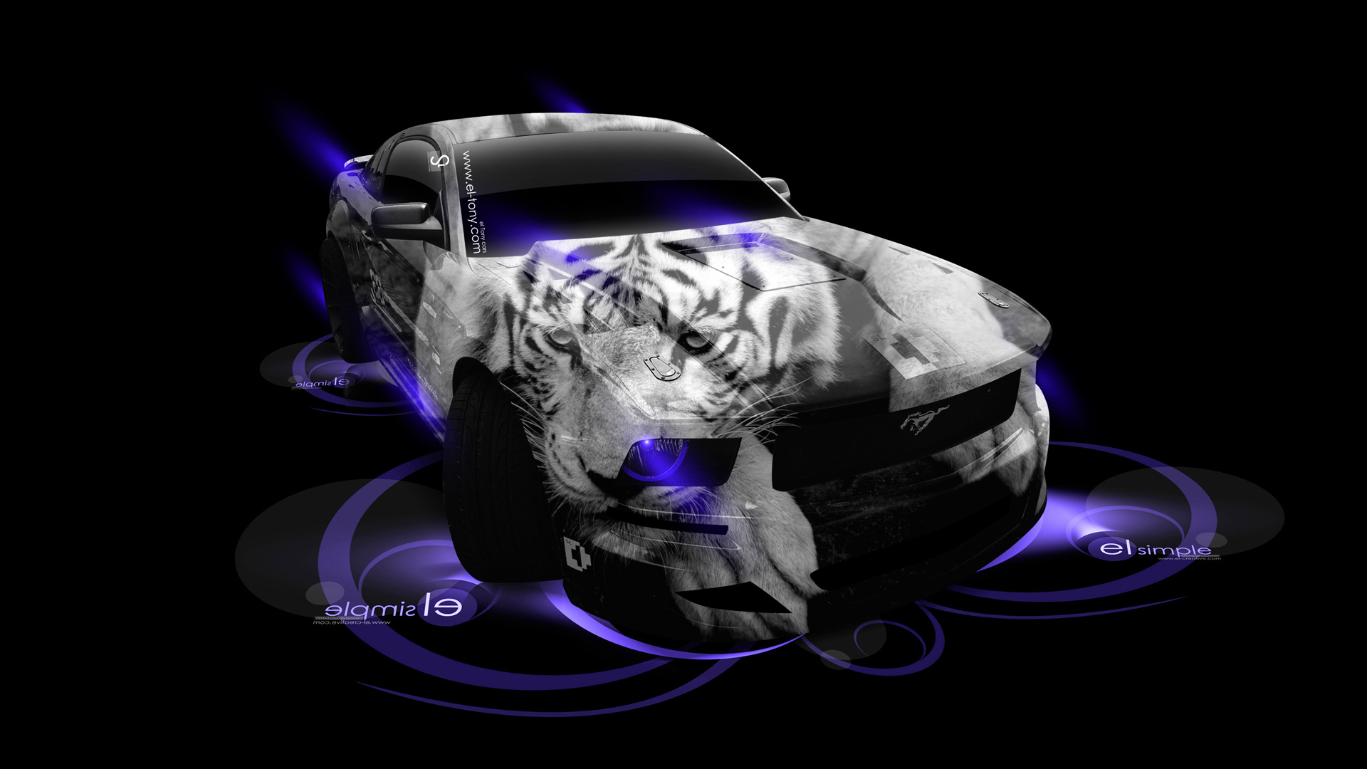 Genial Ford Mustang GT Tuning Muscle Tiger Aerography Car