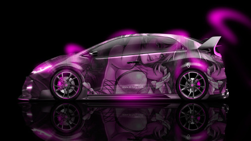 Honda-Civic-Type-R-JDM-Side-Anime-Girl-Aerography-Car-2014-Pink-Neon-design-by-Tony-Kokhan-[www.el-tony.com]