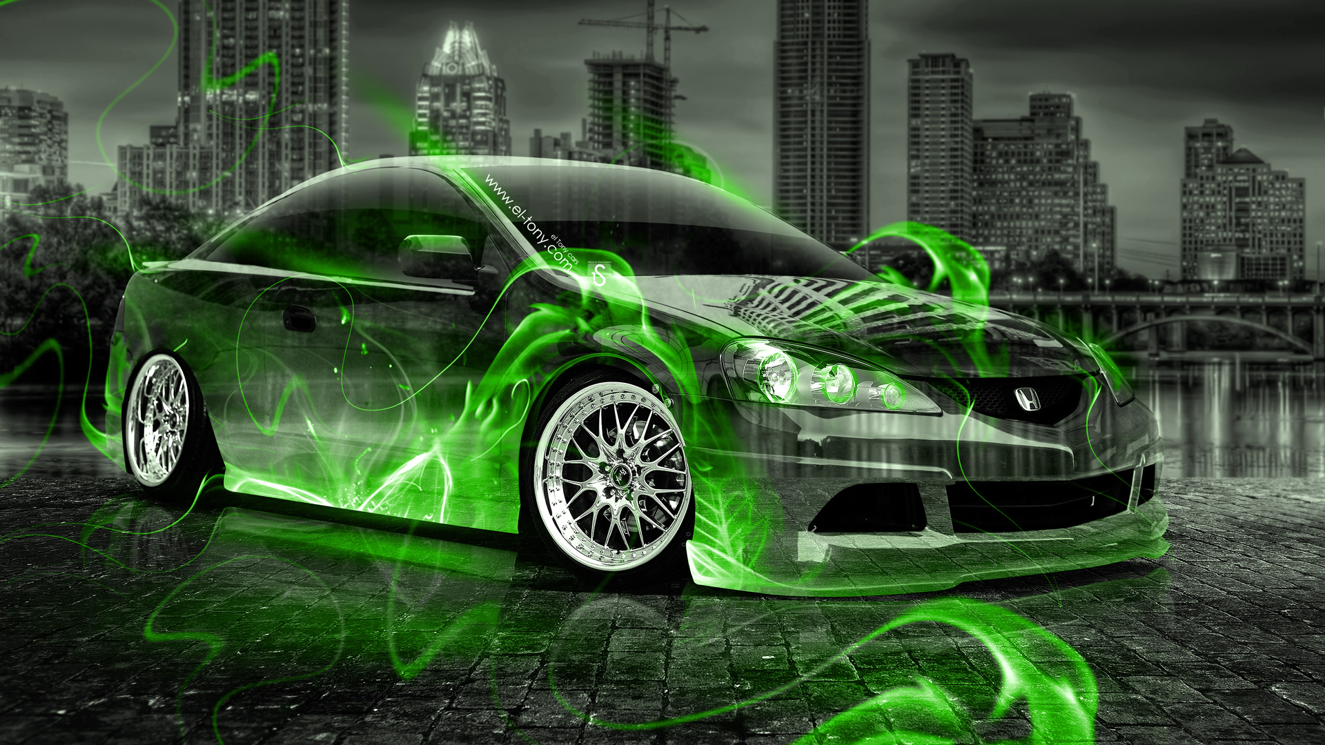 Marvelous Honda Integra JDM Crystal Green Fire City Car