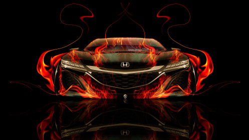 Honda-NSX-Front-Super-Fire-Car-2014-HD-Wallpapers-design-by-Tony-Kokhan-[www.el-tony.com]